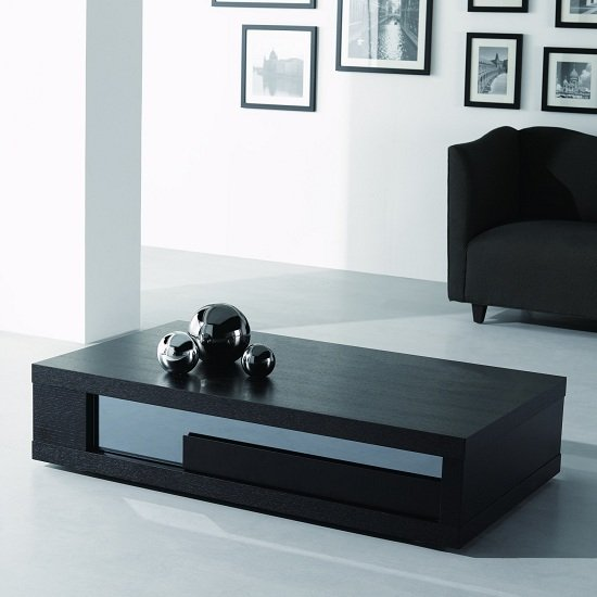 View Andrea coffee table in black wood with glass inserts