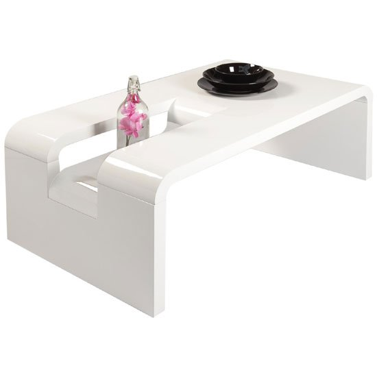 View Jana rectangular coffee table in white high gloss