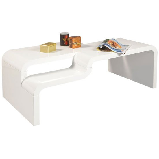 View Pedro rectangular coffee table in white high gloss