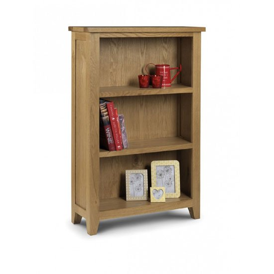 View Raven wooden small bookcase in oak finish with 3 shelf