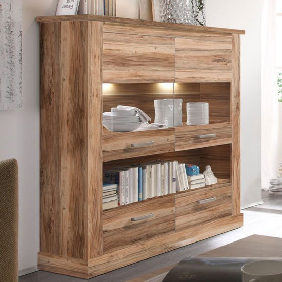 View Montreal highboard in walnut satin with 2 glass door and led