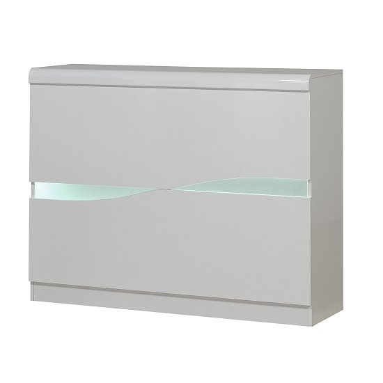 View Merida bar unit in white high gloss with led lighting