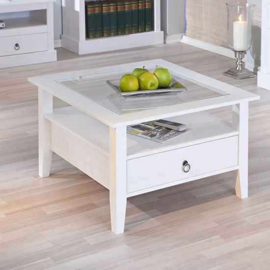 View Stanley square coffee table in white with 1 drawer