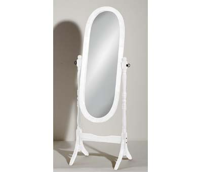 View Oval wooden cheval floor standing mirror in white