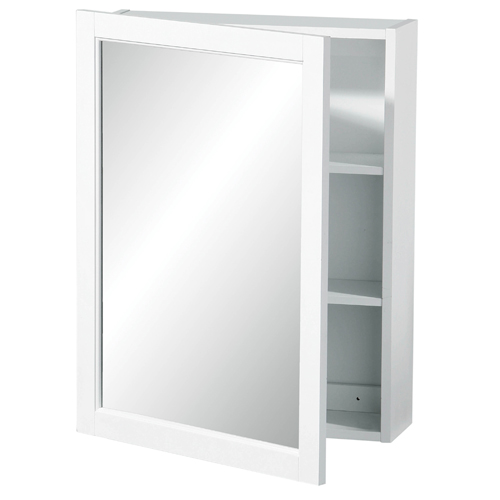 View Mirrored wall cabinet white wood 2 tier shelves