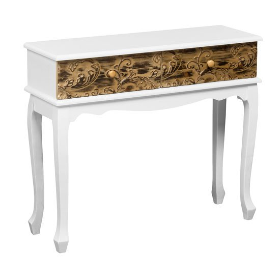 View Bali console table in wood with 2 drawers