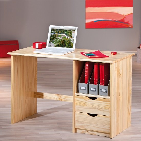 View Croma wooden computer desk in natural with 2 drawers