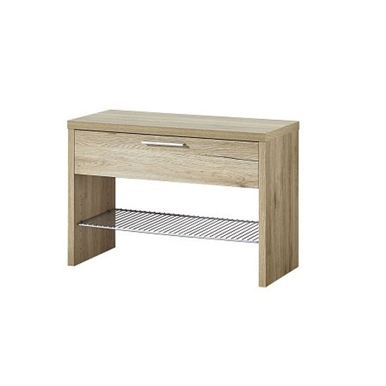View Elina shoe bench in sanremo oak with 1 drawer and metal shelf