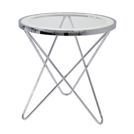 View Theo 2 lamp table in clear glass top and chrome
