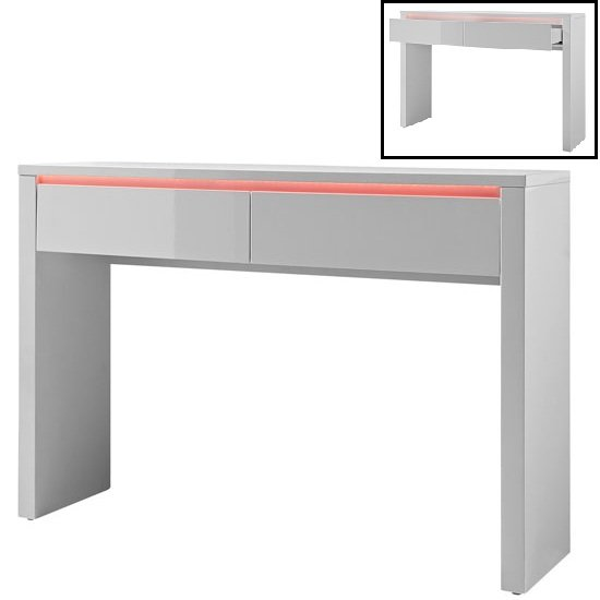 View Chique console table in white high gloss with 2 drawers and led