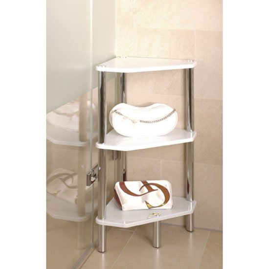 View Maine 3 tier corner display unit in high gloss white