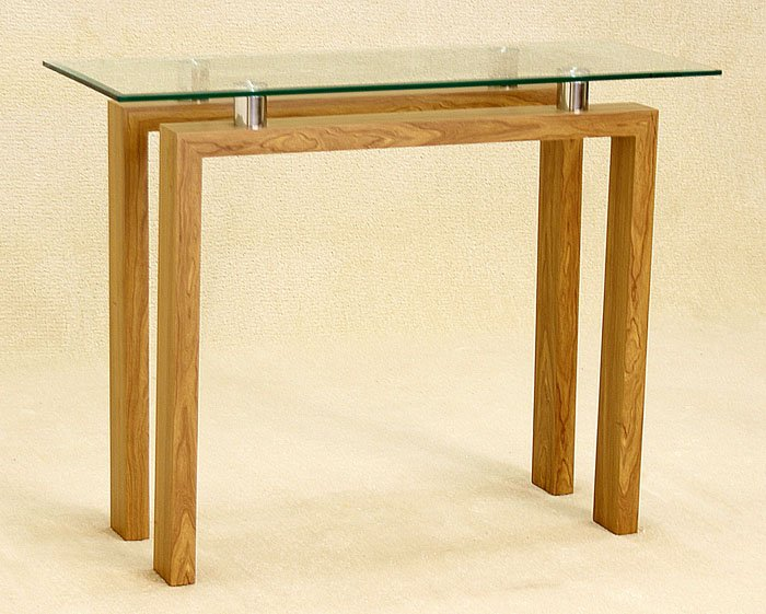 View Adina clear glass console table