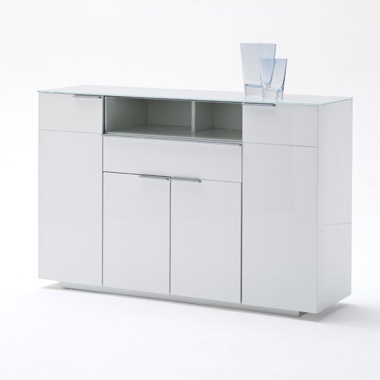 View Canberra highboard in glass top and white high gloss with 4 door