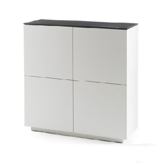 View Denzel highboard in white matt and grey glass top with 4 doors