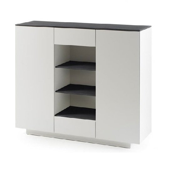 View Denzel highboard in white matt and grey glass top with 2 doors