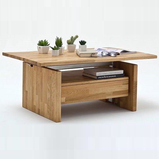 View Titus coffee table in knotty oak with lift function and 1 drawer