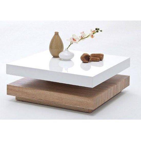 View Hugo square coffee table high gloss white and oak base