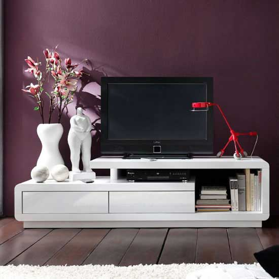 View Celia high gloss plasma tv unit in white with two drawers