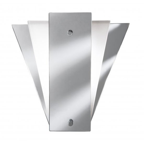 View Deco fan style frost mirror wall lamp with glass panel