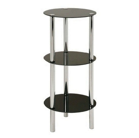 View 3 tier display unit in round black glass with chrome frame