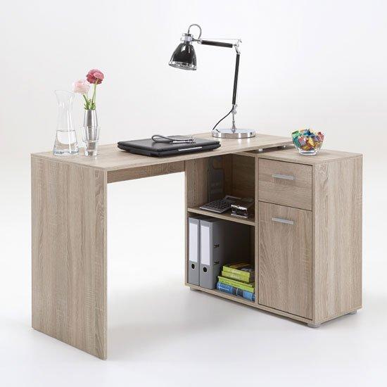 View Albea corner wooden computer desk in oaktree