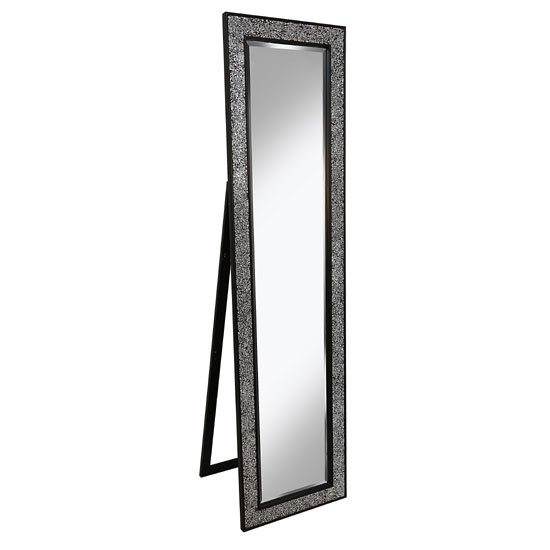 View Aliza floor standing cheval mirror in black silver mosaic frame
