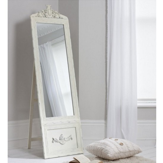 View Gracie cheval floor standing vintage mirror in cream