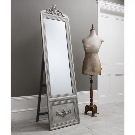 View Gracie cheval floor standing mirror in silver and detailed panel