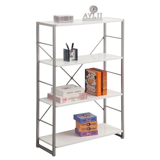 View Kassel tall bookcase in grey frame with 4 white gloss shelf