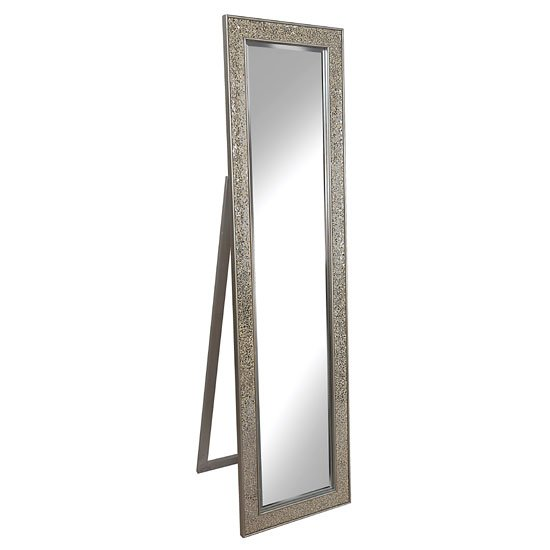 View Aliza floor standing cheval mirror in champagne mosaic frame