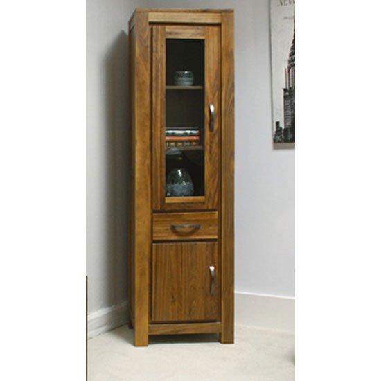 View Sayan walnut narrow glazed bookcase