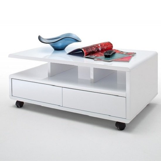 View Wessex coffee table in white gloss with 2 drawers and 5 rollers