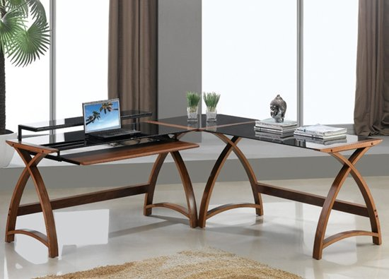 View Modular curve corner computer desk in walnut