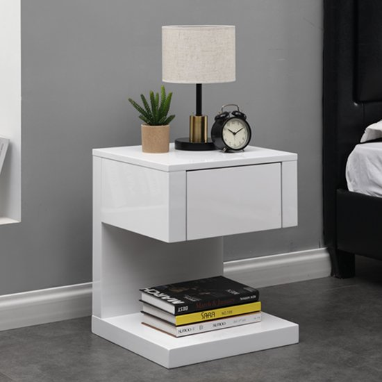 View Dixon bedside table in white high gloss with 1 drawer