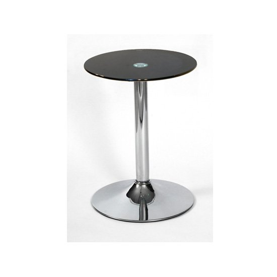View Drew lamp table in black glass top with chrome base