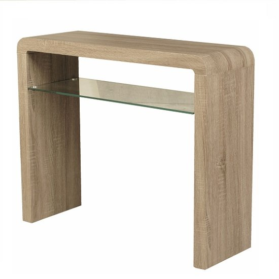 View Cannock console table rectangular in havana oak with glass shelf
