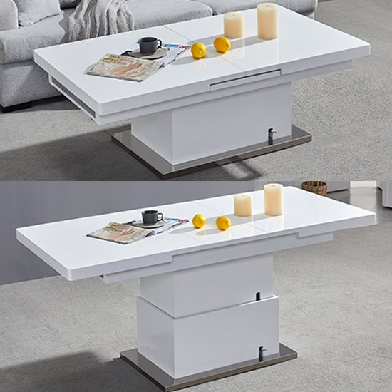 View Elgin extending coffee in to a dining table in white gloss