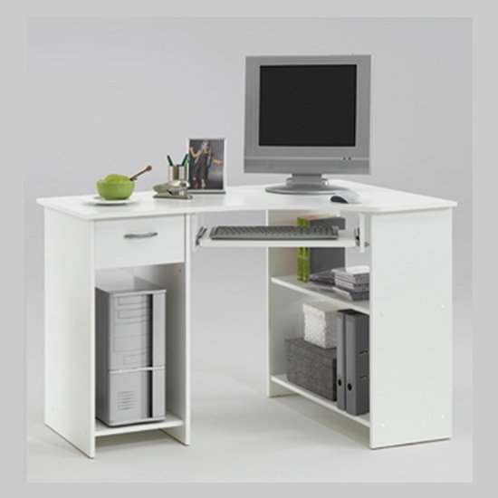 View Felix home office wooden corner computer desk in white