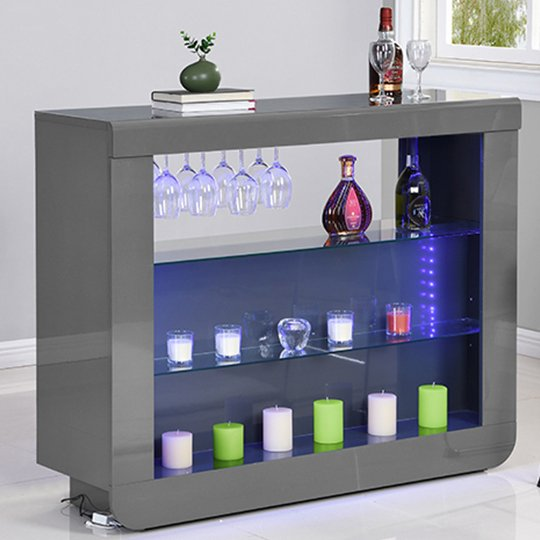 View Fiesta bar table unit in high gloss grey with led lights