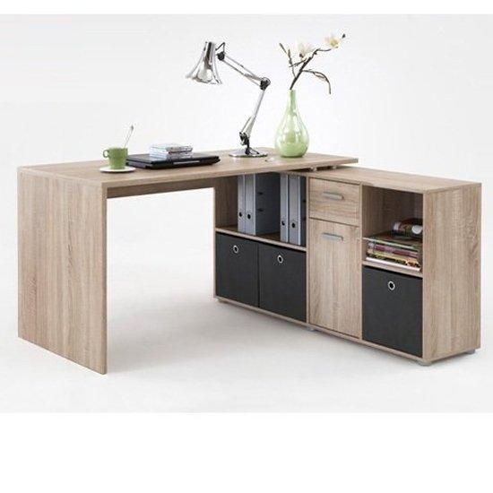 View Flexi wooden corner computer desk in canadian oak