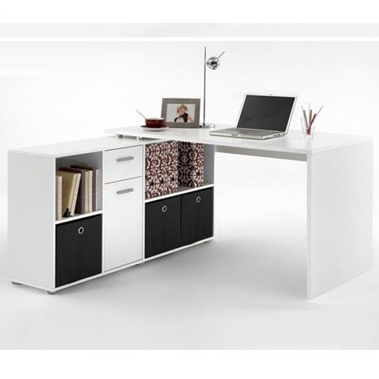 View Flexi wooden corner computer desk in white