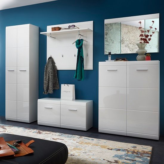 View Adrian hallway set in white with high gloss fronts