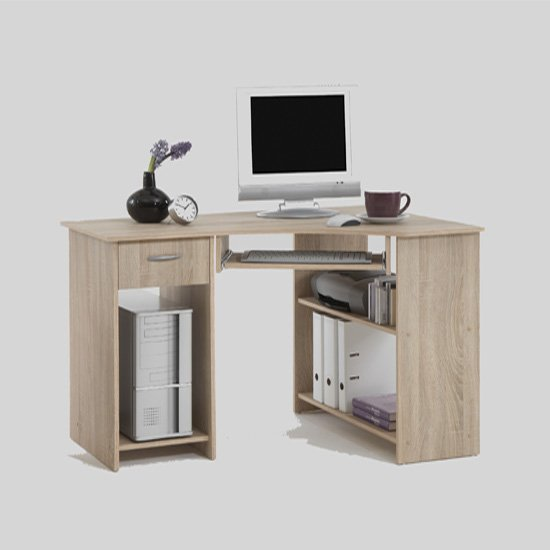 View Felix home office wooden corner computer desk in oak
