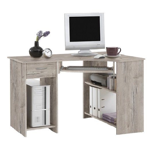 View Felix home office wooden corner computer desk in sand oak