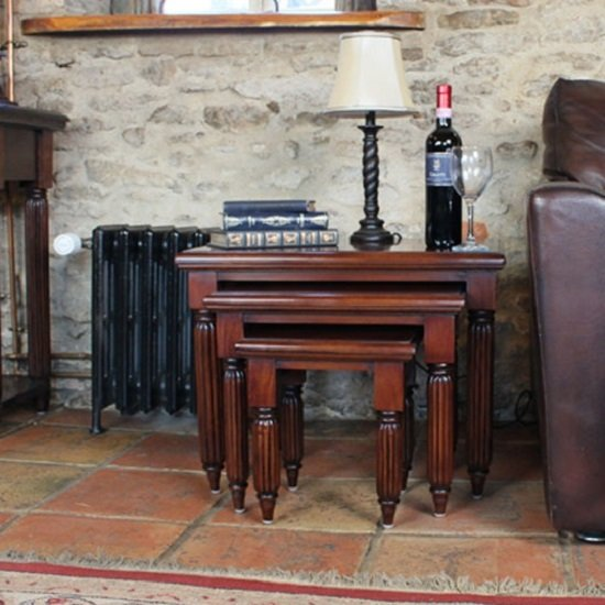 View Belarus nest of coffee tables in mahogany