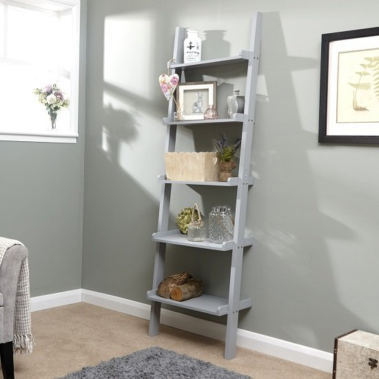 View Irene ladder style wall mounted shelving unit in grey