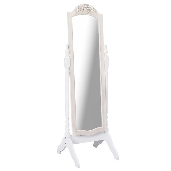 View Julian cheval floor mirror in white and distressed effect wooden
