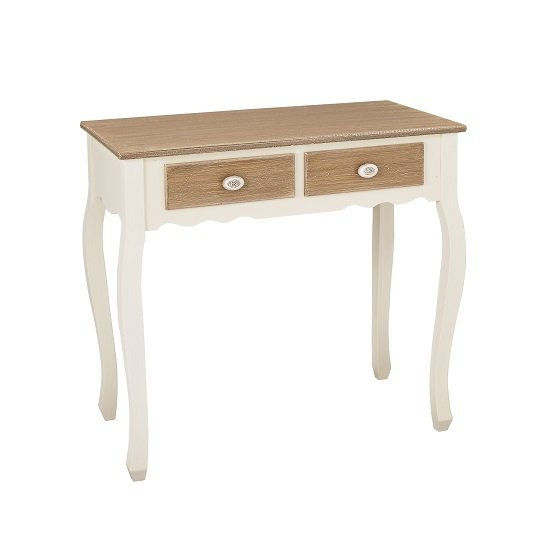 View Julian console table in distressed wooden top and cream legs