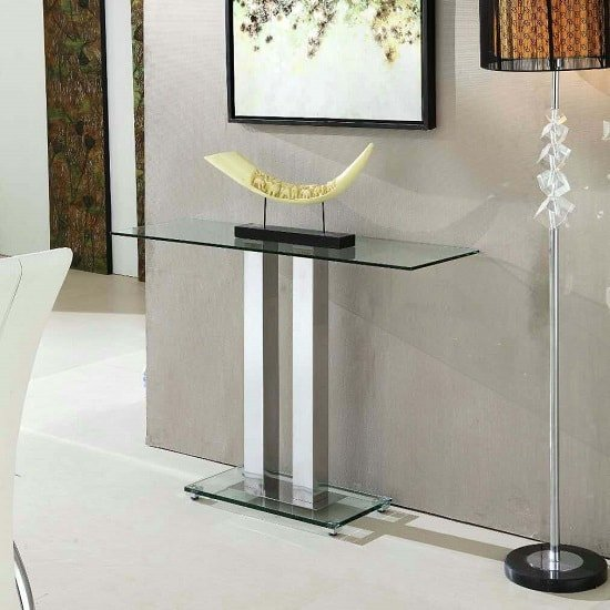 View Jet trendy console table rectangular in clear glass
