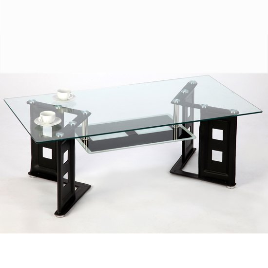 View Juliette coffee table in clear glass with black pu legs